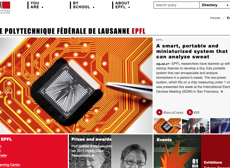 "Xsensio on the front page of EPFL: ""A smart, portable and miniaturized system that can analyze sweat"""
